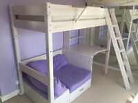 Single bed with sofa, pull out bed and desk. Thuka high sleeper.