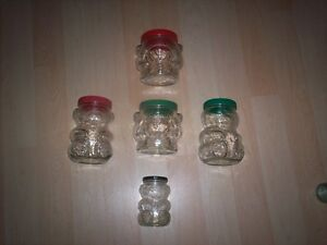 6 KRAFT PEANUT BUTTER BEAR JARS