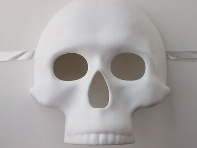 ADULT MENS WHITE PLAIN BLANK DAY OF THE - Adult Day Of The Dead Skull Maske