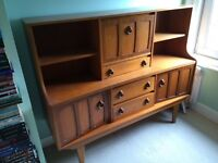 Retro Teak-coloured Sideboard - Cupboard, Shelves and Drawers