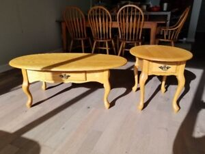 Solid Oak French Coffee and End Table