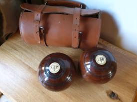 **£45** Vintage Wooden Bowls in Leather Case
