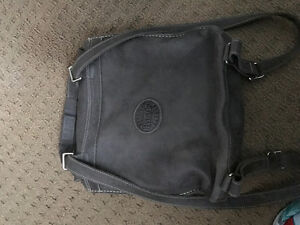 Roots Gray leather back pack bag