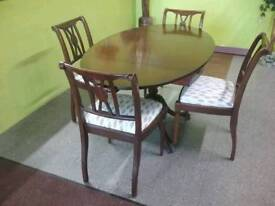 Beautiful Drop-Leaf Dining Table & Set Of 4 Chairs - Can Deliver For £19
