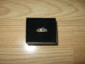 Blue Topaz Filigree Ring  - size 10