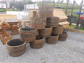 Oak barrel planters and ornaments