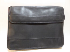 BLACK LEATHER SOFT-SIDED PORTFOLIO CASE FOR PAPERS - MINT