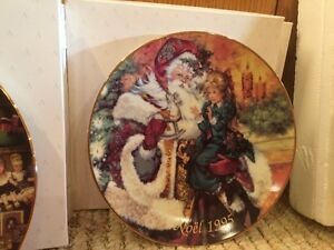 Christmas plate - Artist Peggy Toole - trimmed with 22k Gold