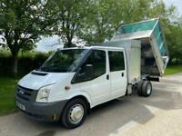 2009 FORD TRANSIT T460L 2.4 TDCI 115 LWB 7 SEAT DOUBLE CAB CAGED TIPPER