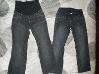 """Two Pairs of Maternity Jeans (Size: S, 28"""" inseam)"""