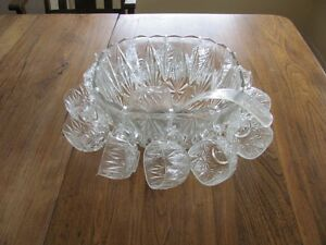 Glass Punch Bowl + 12 Cups