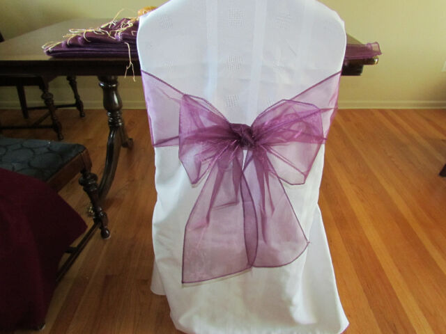 Organza Chair Sashes - set of 96 Plum Coloured Sashes