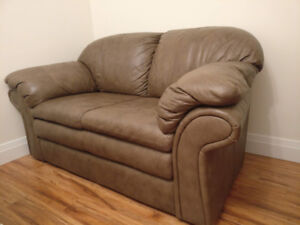 $75 Leather Couch - Natural Grey colour, excellent condition