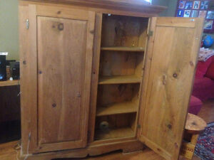 Pine jam cupboard for several large real wood shelving unit