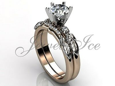 14k Two Tone Rose And White Gold Diamond Floral Engagement Ring Set