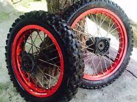 "Red Pit bike wheels 12"" 14"""