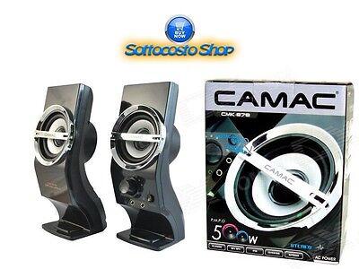 CAMAC CMK-878 CASSE SPEAKERS 2.0 500W PC DESKTOP LAPTOP NOTEBOOK USB JACK 3.5 usato  Chiaiano