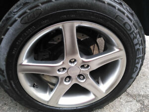 "Set of 4 18"" MODA rims and Goodyear fortera triple tred tires"