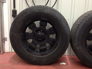 Black Sport rims with tire 285/60r18