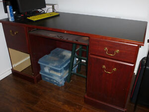 Large desk with drawers and keyboard table