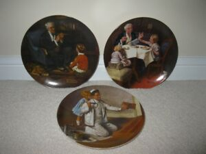 3 Collector Plates in the Norman Rockwell Heritage Collection