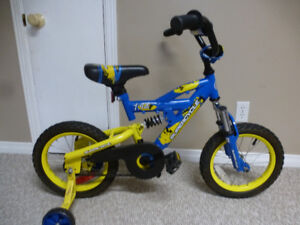 """Supercycle bike with 14"""" tires, dual shocks and training wheels"""
