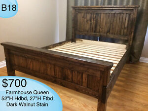 CUSTOM BUILT HANDMADE SOLID WOOD RUSTIC BEDS /