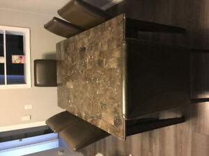 Dinning table set and leather chairs