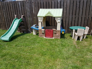 Outdoor play house, slide and table