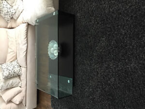 Glass and espresso wood coffee table