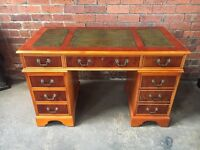 Original Vintage Yew Wood Leather Top Desk - Exc Cond - UK Delivery