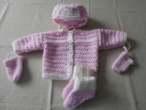 BRAND NEW HAND CROCHETED BAY 3pc & 4pc SWEATER SETS