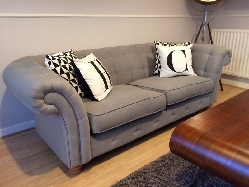 Dfs Chesterfield Style 3 Seater Sofa In Grey Provisonaly Sold In Braintree Essex Gumtree