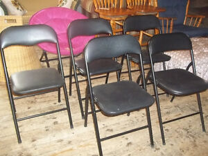 Five Metal Frame Folding Chairs with Cushions Seats and Backs