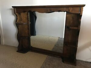 Hutch with mirror and corner shelves