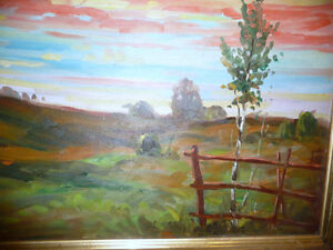 "Vintage Oil by Peter Stoyan (Stoyanoff) ""Sunset"", AOCA, 1952 Stratford Kitchener Area image 5"
