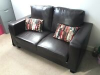 Two Seater Sofa with book case cushions - Dark Brown Faux Leather