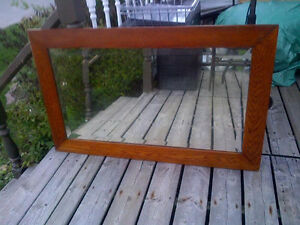 Large Mirror, Oak Frame, Vintage, Unique, Antique