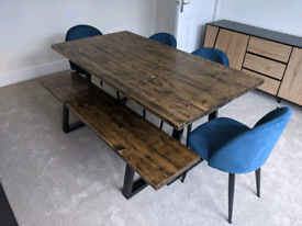 Bespoke Dining Tables + Bench on Trapezium legs