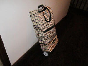 Rolling Collapsible Canvas Tote Bag