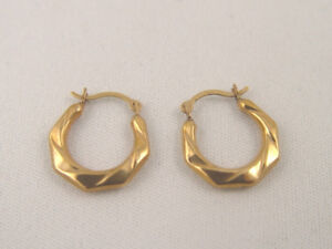 Stamped 10K Gold Hoops