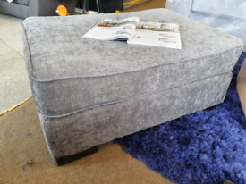 NEW Grey Fabric Footstool DELIVERY AVAILABLE
