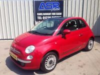 58 Fiat 500 1.2 Lounge - MOT JULY - £30 Road Tax - Alloys - Glass Roof - USB - PX WELCOME