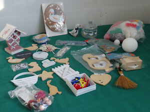 Craft supplies (wooden cutouts, ribbons, straw brooms...)