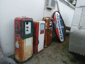 automobilia - old gas pumps and signs