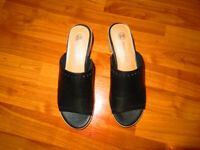 "Slip On Sandals Black Leather 2"" Block Heels Size 8 Never Worn"
