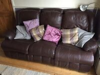 Free brown leather reclining sofas x 2