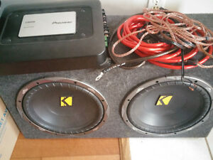 "2 12"" kicker competition series subs with amp"