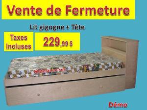 LIT GIGOGNE + TÊTE BIBLIOTHÈQUE @ 229.99 $ -  TAXES INCLUSES !!