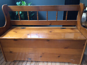 Solid wood bench with storage